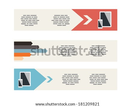 Flat UI Modern Style Minimalistic Banners - stock vector