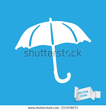 flat umbrella icon on a blue background - stock vector