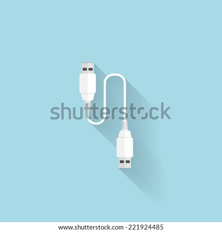 Flat USB cable icon for web.  - stock vector