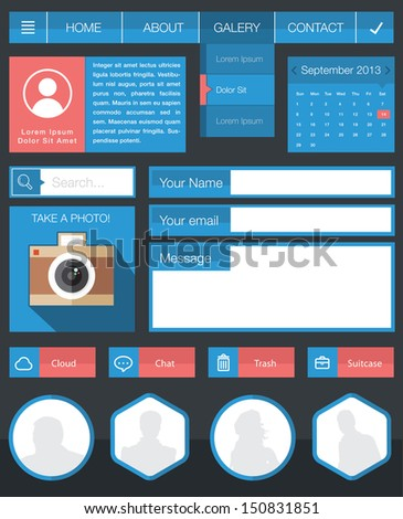 Flat user interface design kit - stock vector