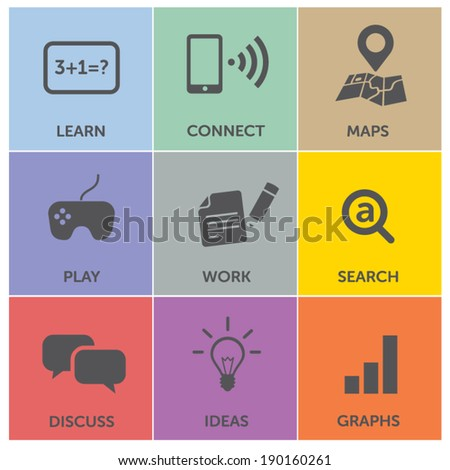 Flat user interface menu: learn, LTE, navigation, games, work, search, discuss, ideas, graphs - modern pastel flat colors background - stock vector