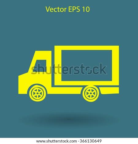Flat van icon - stock vector