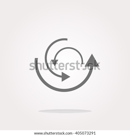 flat vector abstract circles lines (arrows) on web glossy icon (button) - stock vector