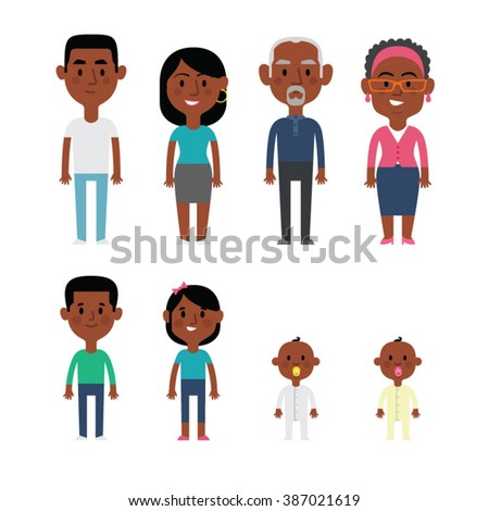 Flat vector african american family members. Parents, grandparents, children and baby. - stock vector