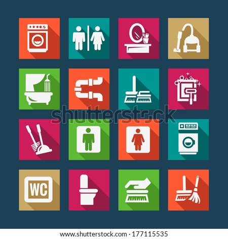 Flat Vector Black Cleaning Icons Set. - stock vector