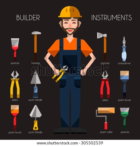 flat vector builder engineer worker carpenter handymen professional character workman instruments essentials supplies tools items icons avatar set collection  - stock vector