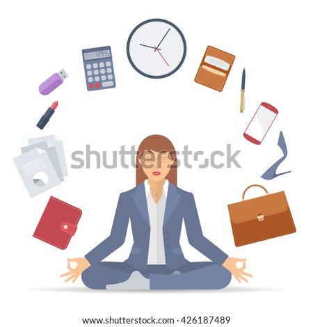 Flat vector business concept illustration of businesswoman meditation. Woman meditates at work in the lotus pose. Professional manager sitting in the meditation surrounded with office supplies. - stock vector