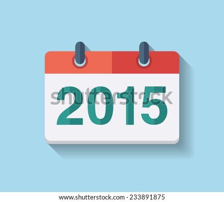 Flat vector calendar icon 2015. New year 2015 - stock vector