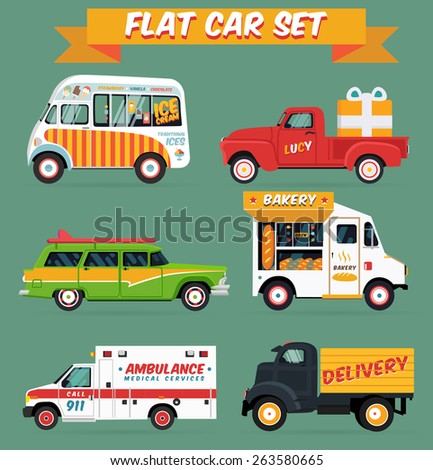 Flat vector car set illustration featuring Ice cream Truck/ Delivery Truck with a gift / Surf woodie car / Bakery truck / Ambulance / Cargo van - stock vector