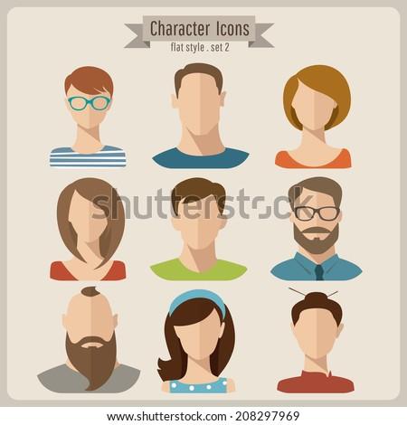 Flat vector characters - stock vector