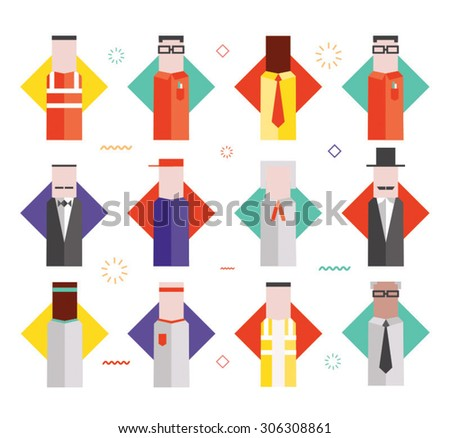 Flat vector characters of different personalities - stock vector