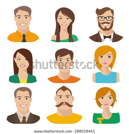 Flat vector characters. Vector avatars with eyes. Smiling happy people. Happy emotions. Vector portraits.  - stock vector