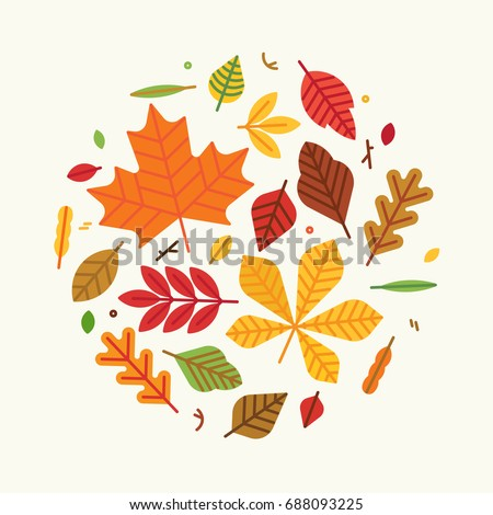 Flat vector circle composition of autumn leaves. Round fall themed design element or background