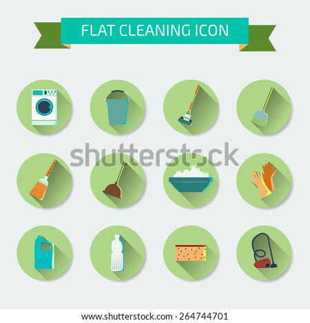 Flat vector color set of icons. House cleaning and laundry. Vector illustration - stock vector