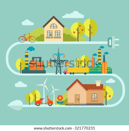 Flat vector concept and infographic design elements - city illustration with alternative energy generators - nature conservation and protection with modern innovation and technologies. Eco energy - stock vector