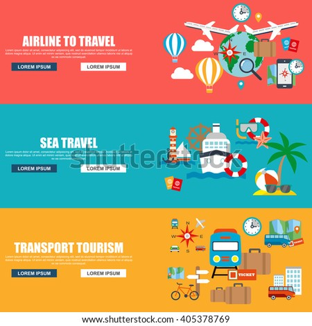 Flat vector concept journey, airline to travel, sea travel, website travel companies. Flat icons. Trip to World. Travel to World. Vacation. Road trip. Tourism. Travel banner. Travelling illustration. - stock vector