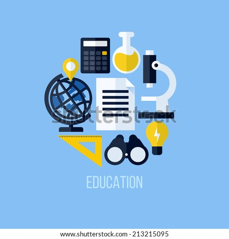 Flat vector concept of educational elements for websites and mobile apps. Icons set for education and online learning - stock vector