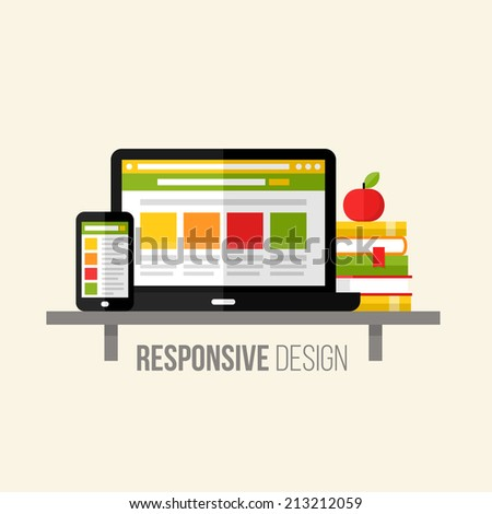 Flat vector concept of responsive web design. Design elements for websites, mobile apps and printed materials - stock vector