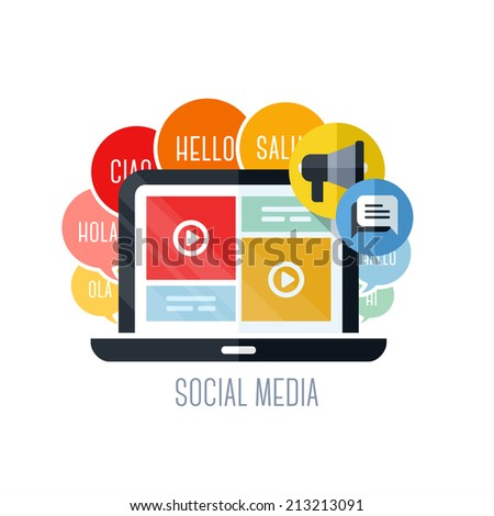 Flat vector concepts of social media marketing. Icons set for websites, mobile apps and printed materials - stock vector