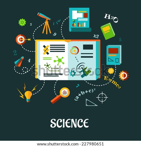 Flat vector creative science concept with different icons, formulas and symbols - stock vector