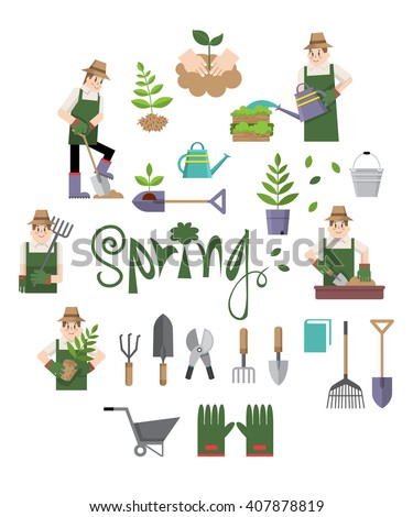 Flat vector design elements and people gardening and planting trees for spring and summer season. - stock vector