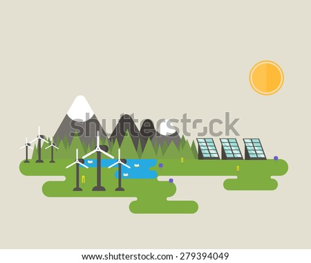 Flat vector design of green energy systems like solar panel and wind turbine near the mountains, lake and forest. - stock vector