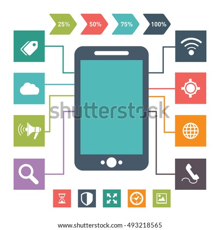 Flat vector design of vintage look smartphone, mobile with different user interface elements