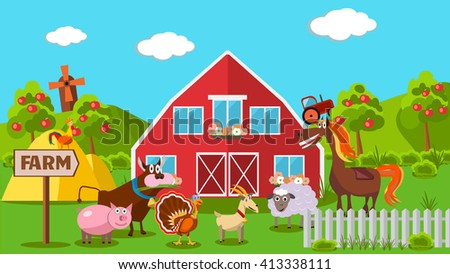 Flat vector farm with animals