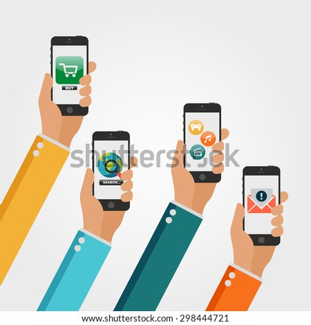 Flat Vector Hands with Phones. Stylized Icons for Mobile Applications - stock vector