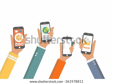 Flat Vector Hands with Phones. Stylized Icons for Mobile Applications. Hands with Phones concept, Hands with Phones mock up for your flyer and presentation for business and work, search delivery hand - stock vector