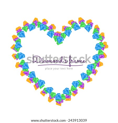 Flat vector heart frame border with Diamond, gemstones. Design element - stock vector