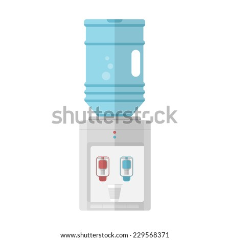 Flat vector icon for water cooler. Gray water cooler with blue full bottle and cup. Flat vector icon on white background. - stock vector