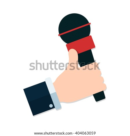 flat Vector icon - hand holding microphone. Live news. Press illustration. - stock vector