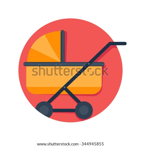 flat Vector icon - illustration of baby pram icon isolated on white - stock vector