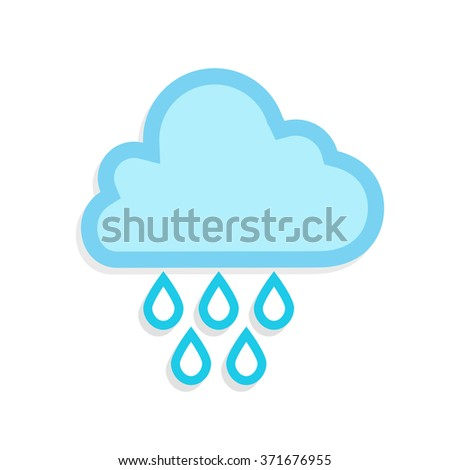 flat Vector icon - illustration of cloud and drops icon isolated on white