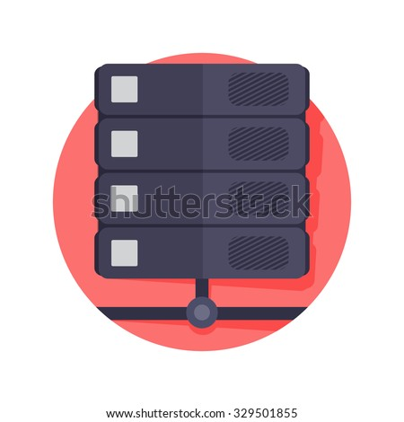 flat Vector icon - illustration of Database icon isolated on white - stock vector