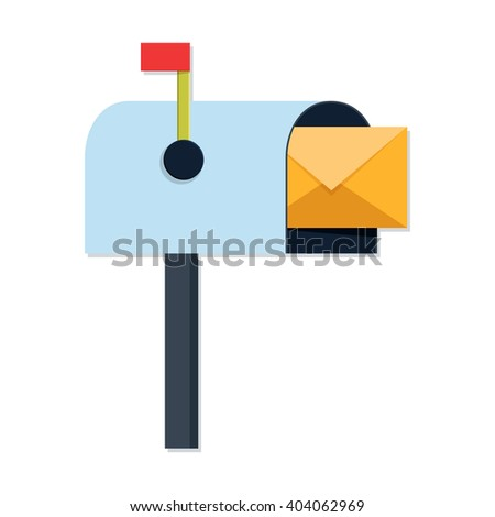 flat Vector icon - illustration of Mailbox with Mail icon isolated on white - stock vector