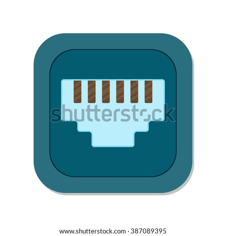 flat Vector icon - illustration of Network socket icon isolated on white - stock vector