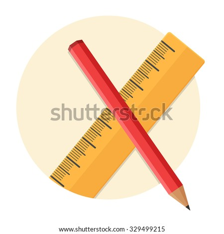 flat Vector icon - illustration of Pencil and ruler icon isolated on white - stock vector