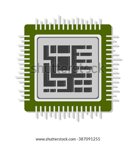 flat Vector icon - illustration of processor icon isolated on white - stock vector