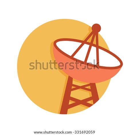 flat Vector icon - illustration of satellite dish icon isolated on white - stock vector