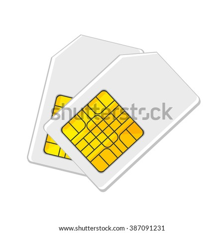 flat Vector icon - illustration of Sim card icon isolated on white