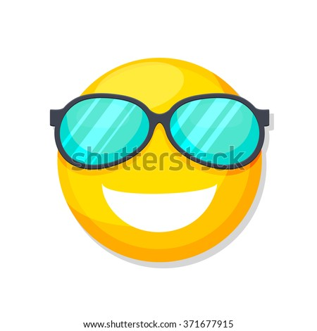 flat Vector icon - illustration of smiley face with sunglasses icon isolated on white - stock vector