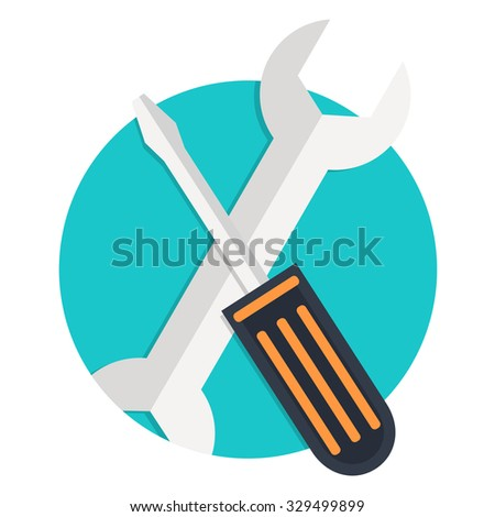 flat Vector icon - illustration of tools icon isolated on white - stock vector