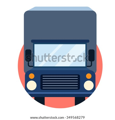 flat Vector icon - illustration of Transportation truck icon isolated on white - stock vector
