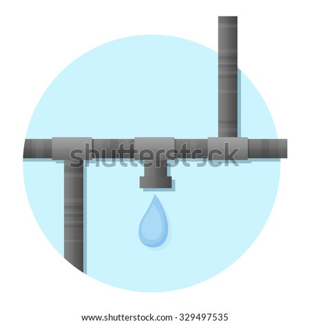 flat Vector icon - illustration of water pipe icon isolated on white - stock vector