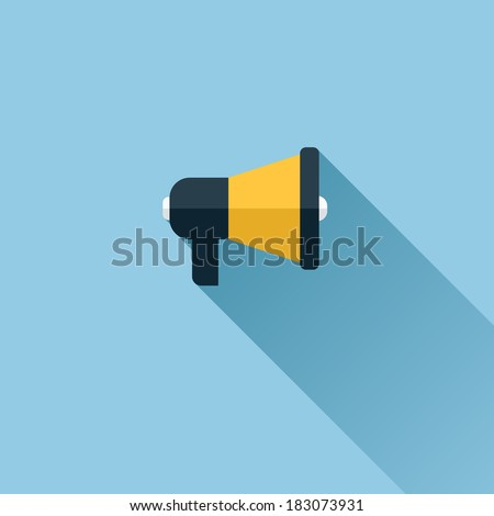 Flat vector icon of megaphone for social media marketing concept - stock vector
