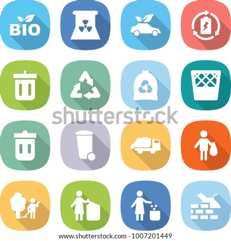 flat vector icon set - bio vector, nuclear power, eco car, battery charge, bin, recycle, garbage bag, trash, truck, garden cleaning, construct
