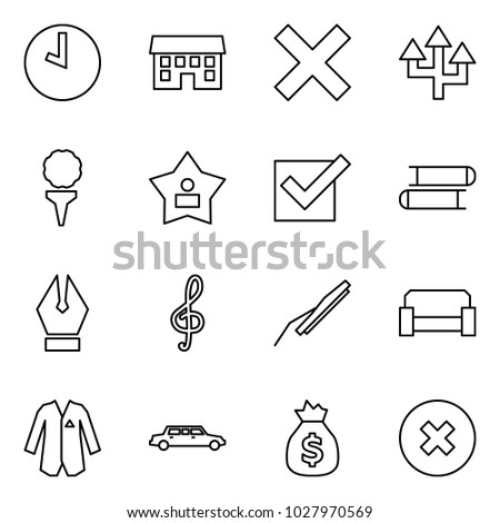 Flat vector icon set - clock vector, house, delete, router, golf, best, check, books, ink pen, music, car wiper, sofa, jacket, limousine, bag