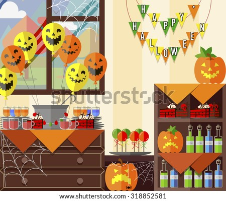 Flat vector icon set for Halloween party decorations, a set of elements, banner, invitation, punch, pumpkin, balloons, treats, fun horror holiday